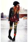 Black-second-hand-jacket-brick-red-evil-twin-leggings