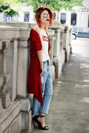 red Front Row Shop cape - black Jessica Buurman shoes - light blue romwe jeans