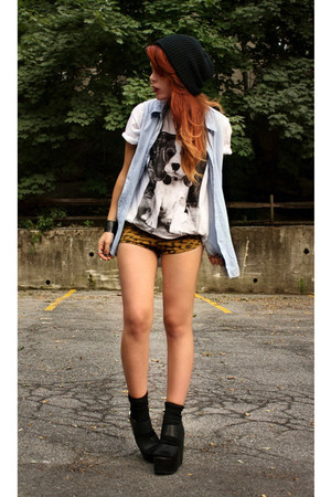 bronze Dag shorts - black wholesale wedges - sky blue vintage blouse