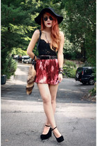 brick red VNTAGE skirt - black wholesale shoes - black gypsywarrior cape