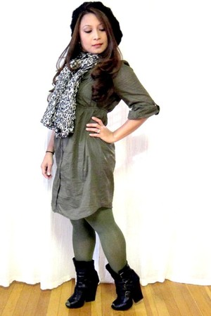 H&M dress - Target tights - H&M scarf - Forever 21 hat - Dolce Vita boots