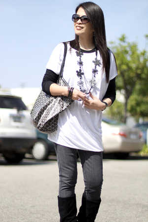 Mango blouse - Forever 21 blouse - H&M jeans - Nine West boots