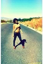 tawny belt - black jeggings jeans - crimson wedges - tawny top
