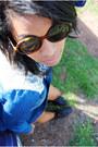 Black-boots-black-leotard-bodysuit-blue-blouse