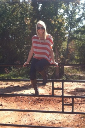 orange silk shirt - dark brown boots - navy jeans