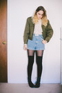 Black-urban-outfitters-boots-olive-green-military-thrifted-jacket
