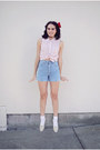 Red-polka-dot-urban-outfitters-blouse-light-blue-denim-thrifted-vintage-shorts