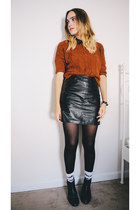 black Urban Outfitters boots - burnt orange cropped H&M sweater
