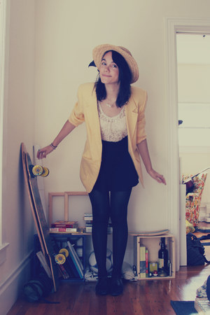 light yellow thrifted vintage blazer - black thrifted vintage shoes