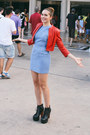 Light-blue-dolce-vita-dress-red-leather-bebe-jacket