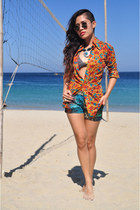orange shirt - green tribal shorts - turquoise blue silver necklace