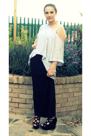 black Primark skirt - black Topshop shoes - blue LELASULLY top