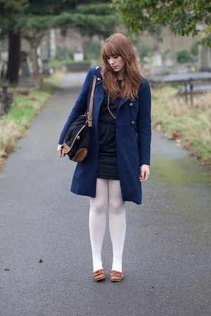 brown APC shoes - navy Seesun dress - blue tba coat - ivory Faulke tights - navy