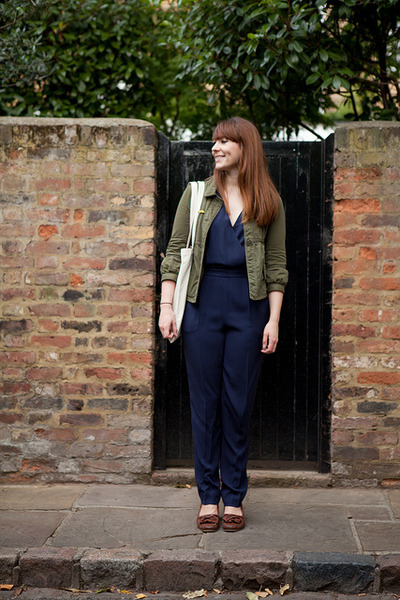 army green abercrombie and fitch jacket - navy Jaegar romper - brown APC loafers