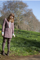 dark brown FLY boots - puce Johann Earl dress - heather gray Urban Outfitters ti