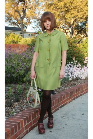 chartreuse thrifted vintage dress - crimson Missoni stockings
