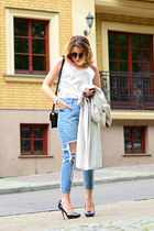 light blue ripped Front Row Shop jeans - black Jessica Simpson heels