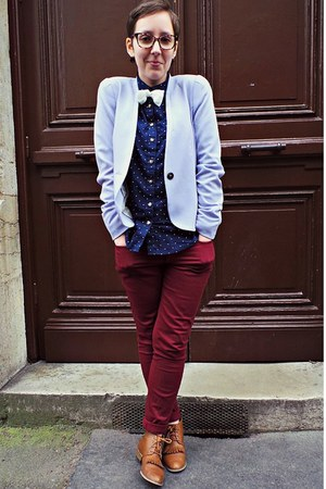 periwinkle H&amp;M blazer - tawny andr boots - navy H&amp;M shirt - maroon H&amp;M pants
