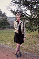 H&M dress - new look jacket - texto flats