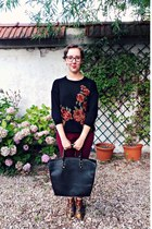 black Zara jumper - maroon Topshop boots - black pull&bear bag