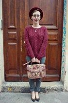 new look bag - heather gray Camaïeu jeans - brick red wool H&M hat