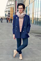 navy H&M jeans - black H&M hat - navy vintage blazer - light pink H&M flats