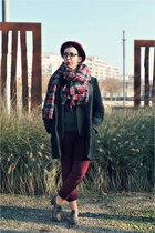 brick red Zara scarf - dark gray Naf Naf coat - brick red H&M hat