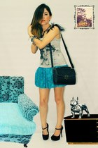 sky blue skirt - black bag