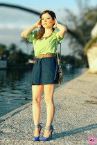 chartreuse shirt - nude bag - navy skirt - violet pumps