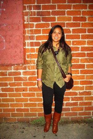 olive green sheer H&M top - tawny Steve Madden boots - black BDG pants