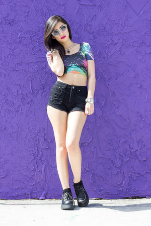violet crop top Motel Rocks top - creepers BC footwear shoes