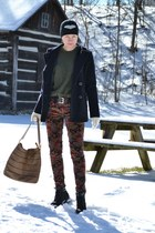 crimson velvet BDG jeans - black heart portolano hat - brown Bodhi bag