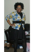 black H&M dress - JC Penney cardigan - black ashley stewart belt - black Target