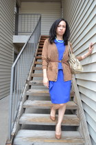 blue calvin klein dress - brown Forever 21 cardigan - BCBG pumps