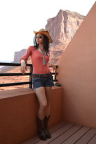 dark brown Tony Lama boots - navy denim shorts Hydraulic shorts