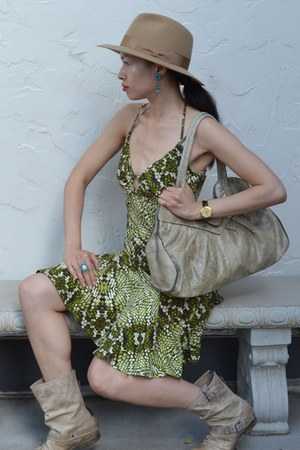 olive green Just Cavalli dress - beige Steve Madden boots - Patricia Nash bag