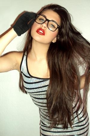 silver Bebe dress - black retro glasses Target glasses