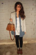 silver Zara jacket - orange vintage accessories - orange Zara boots
