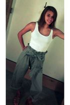 white Victorias Secret top - gray Anthropologie pants - brown Nine West shoes
