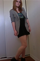 Express blazer - Forever 21 blouse - American Apparel skirt - Deena & Ozzy boots