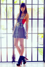 Navy-striped-random-dress-gray-forever-21-heels-black-vintage-channel-belt-