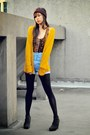Black-dark-dep-store-tights-sky-blue-denim-shorts-vintage-shorts-mustard-ove