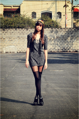 heather gray animal printed cotton on dress - black black Topshop tights - black