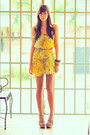 Yellow-tiered-petit-monde-dress-light-pink-criss-cross-wedges-wedges