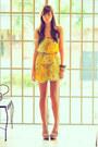 Yellow-tiered-petit-monde-dress-light-pink-criss-cross-wedges-wedges