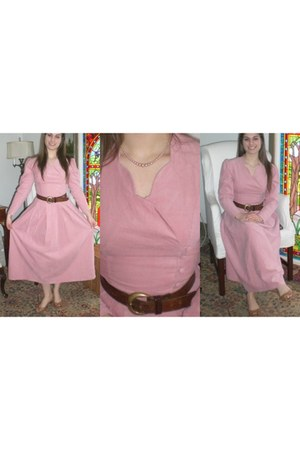 bubble gum Laura Ashley dress - dark brown belt - light brown heels