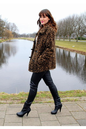 black Forever 21 boots - brown vintage coat - black vintage pants