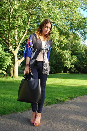 navy kimono Zara blazer - black leather bag Zara bag - navy H&M pants