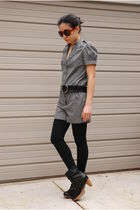 gray Topshop jumper - black coclico boots