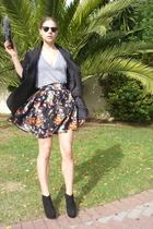 vintage blazer - Topshop shoes - Ray Ban sunglasses - asos purse - H&M skirt